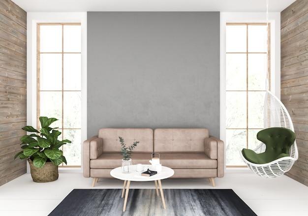 Sala de estar con pared en blanco, exhibición de arte