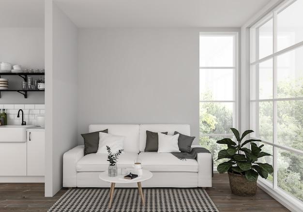 Sala de estar con pared en blanco, fondo de obras de arte, maqueta interior
