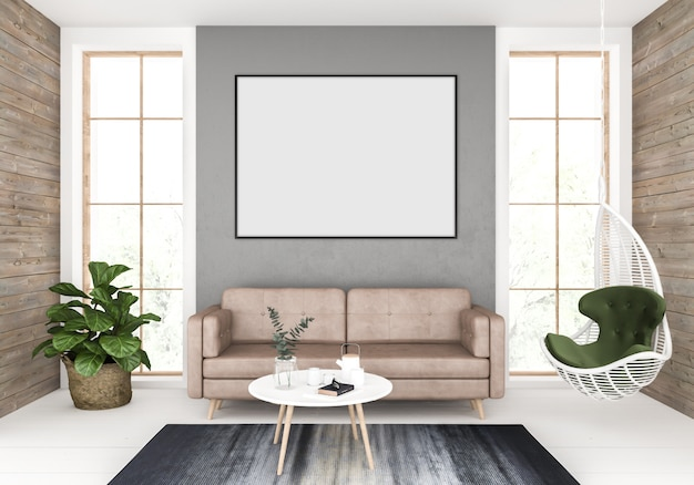 Sala de estar con pared horizontal vacía, exhibición de arte