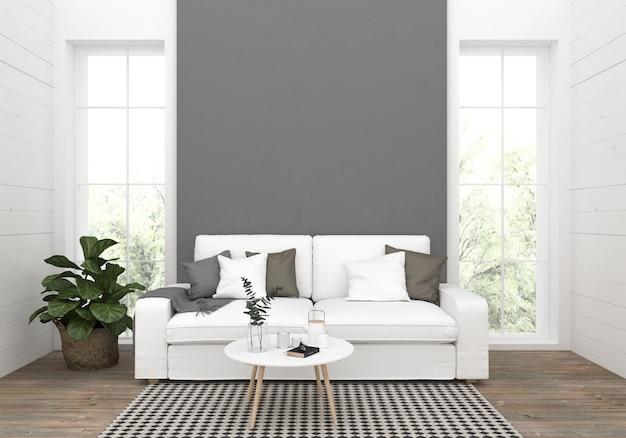 Sala de estar con pared vacía en blanco, exhibición de arte