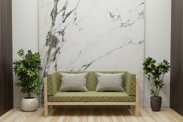 La sala de estar con paredes de mármol blanco está vacía, decorada con macetas en el costado y un sofá en el piso de madera. representación 3d.