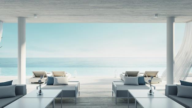 Sala de estar en la playa: vista al mar y al mar de la villa oceánica para vacaciones y verano / interior de render 3d