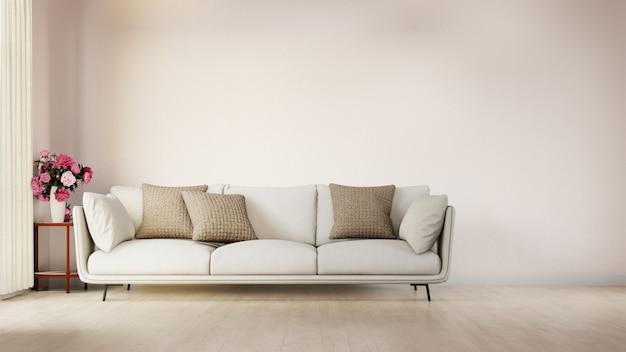 Sala de estar con póster interior con colorido sofá blanco