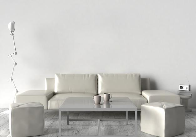 Sala de estar, sofá, dos taburetes y mesa. en la pared de un marco vacío