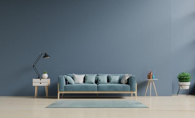 Sala de estar con sofá, intensidad de color de la luz del sol que ilumina la mañana. representación 3d