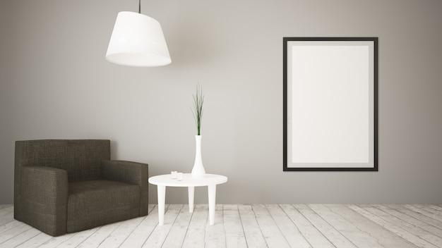 Sala de estar con sofá y mesa simulada