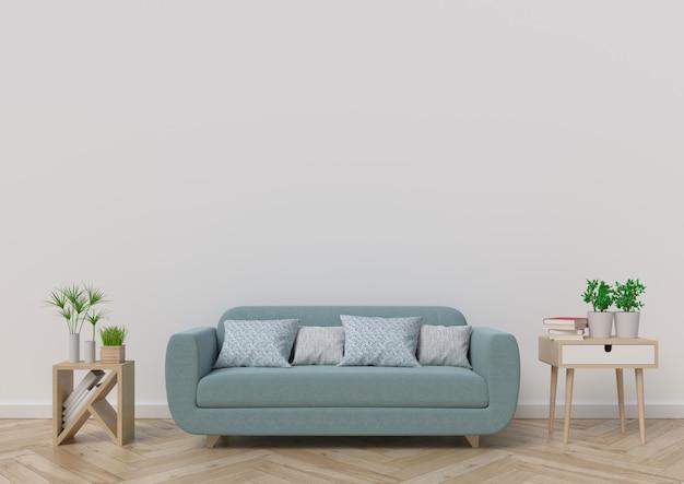 Sala de estar con sofá, plantas y cuadros sobre fondo de pared blanca vacía. representación 3d.