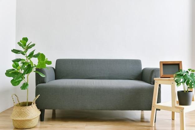 Sala de estar con sofá de tela y plantas de interior verdes para la purificación del aire interior.