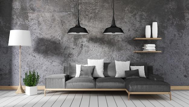 Sala de estar tipo loft con lámpara de sofá y plantas en el fondo de pared de concreto, diseños mínimos, rend 3d