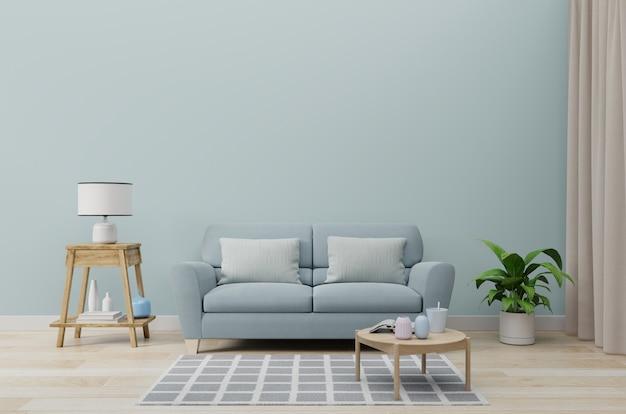 Sala de estar vacía con sofá azul, plantas y mesa en la pared azul vacía