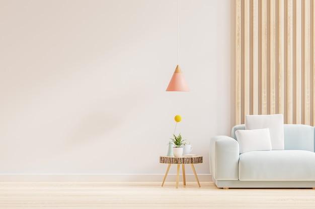 Sala de estar vacía con sofá y mesa en la pared blanca vacía background.3d representación