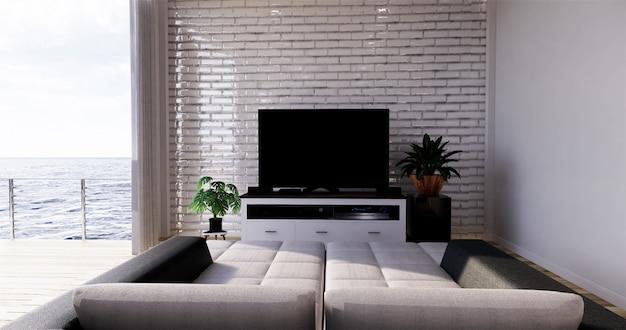 Sala de estar con vista al mar en casa de playa moderna en verano. representación 3d Foto Premium