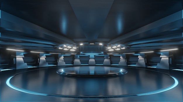 Sala de estudio azul claro vacío sala de sala de ciencia ficción futurista sala grande con luces azules
