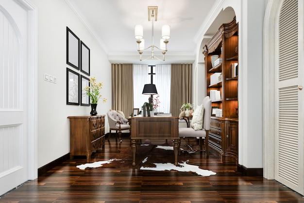 Sala de estudio de estilo europeo de representación 3d con estantería de madera