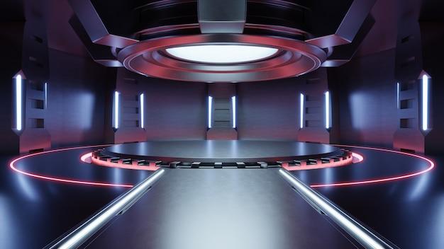 Sala de estudio roja clara vacía sala de gran salón de ciencia ficción futurista con luces rojas, fondo futuro para el diseño, renderizado 3d