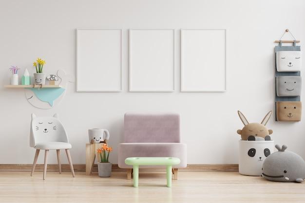 Sala de guardería interior, sala de niños con marcos de pared vacíos. representación 3d