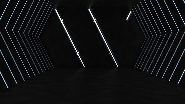 Sala de hormigón vacía con luces de neón