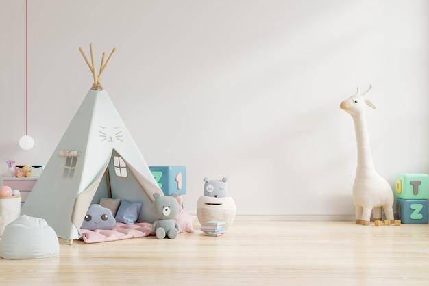 Sala de juegos para niños con carpa y mesa sentada pared blanca, muñeca representación 3d