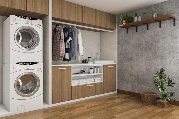 Sala de lavandería de madera de representación 3d con muro de hormigón