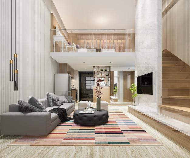 Sala de madera blanca de representación 3d cerca de dormitorio arriba