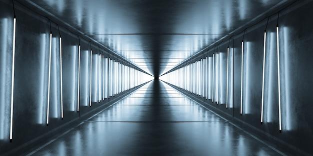 Sala de neón azul tubo blanco luces fluorescentes que brillan intensamente