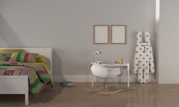 Sala de niños, casa de juegos, muebles para niños con juguete y maqueta de dos marcos