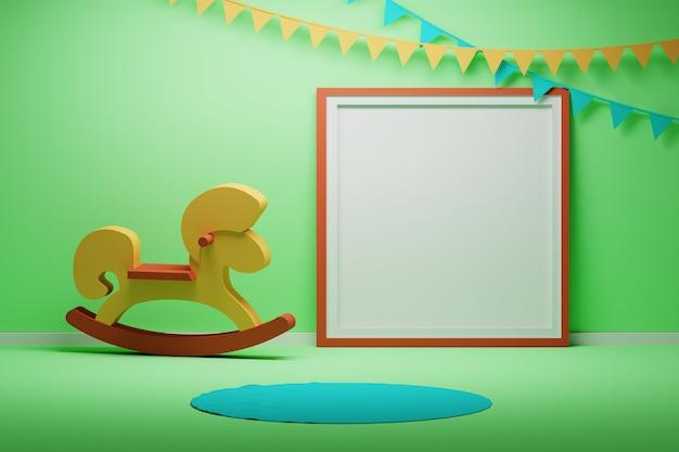 Sala de niños simulacro con marco de imagen y caballo de madera