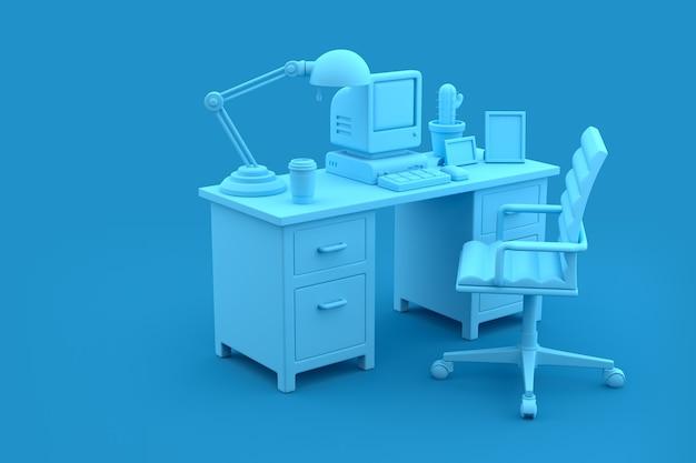 Sala de oficina con escritorio, computadora y silla en fondo azul, representación 3d