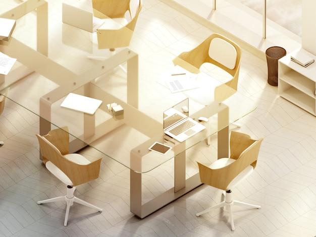 Sala de oficina soleada con pantalla de portátil en blanco