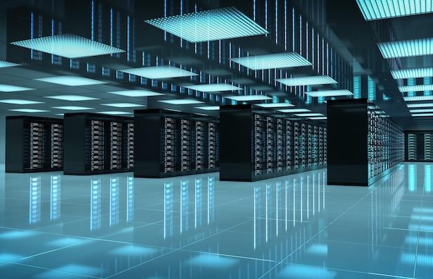Sala oscura del centro de servidores con computadoras y sistemas de almacenamiento representación 3d