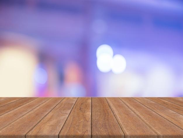 Sala de perspectiva vacía con sparkling bokeh pared y piso de tablón de madera, simulacros de plantilla para la exhibición de su producto