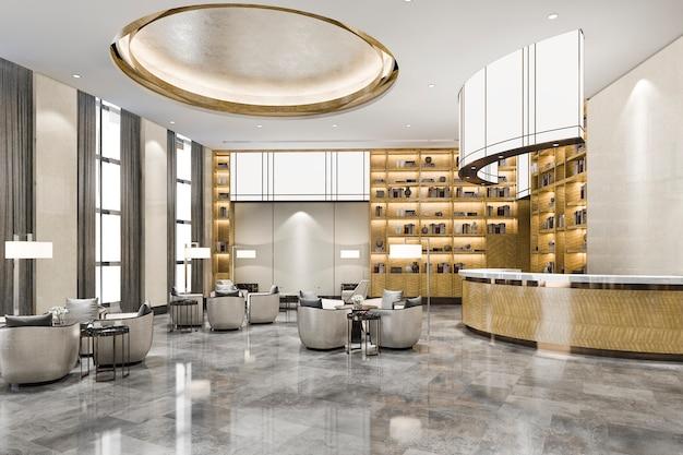 Sala de recepción y oficina de hotel de lujo con estante de decoración