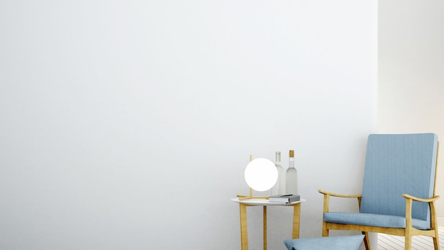 La sala de relajación mínima interior en condominio y decoración de fondo muro de hormigón representación 3d