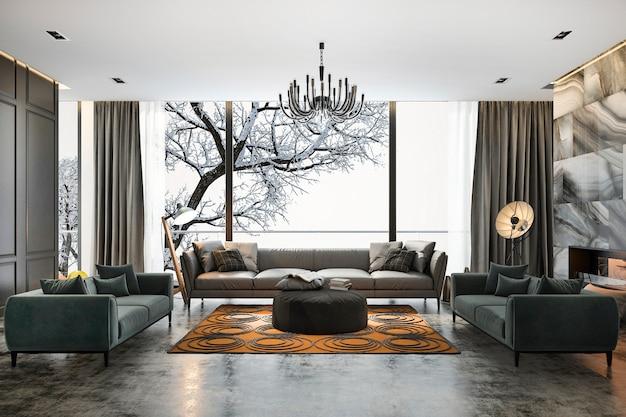 Sala de representación 3d con sofá cerca de la escena de invierno fuera de la ventana
