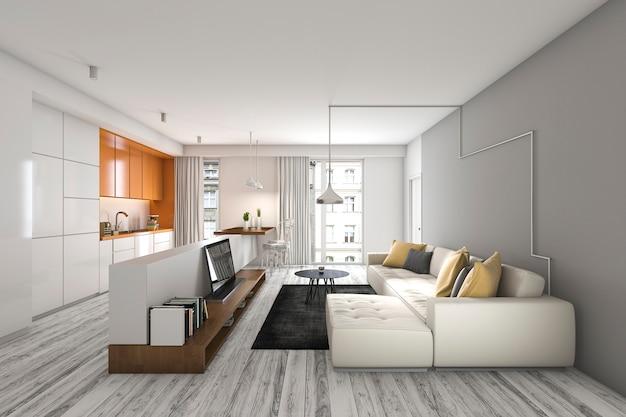 Sala de representación 3d con sofá y televisión cerca de la barra de la cocina