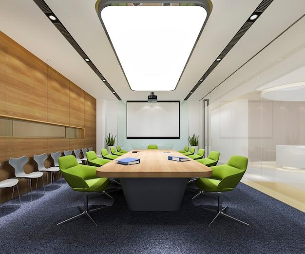 Sala de reunión de negocios de representación 3d en edificio de oficinas de gran altura con silla verde