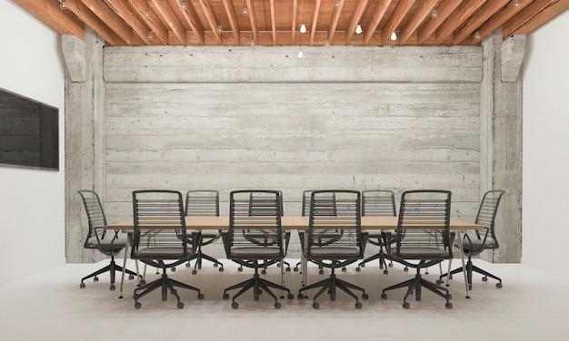 Sala de reunión de negocios de representación 3d en edificio de oficinas