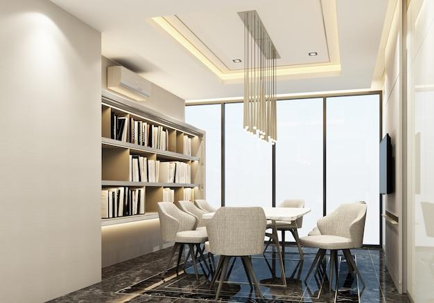 Sala de reuniones diseño de interiores de estilo de lujo moderno representación 3d