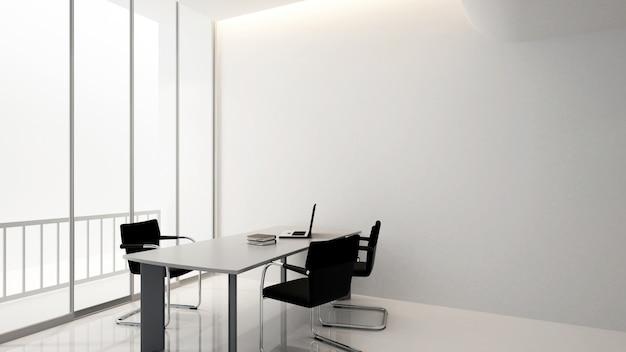 Sala de reuniones en edificio de oficinas, renderizado 3d