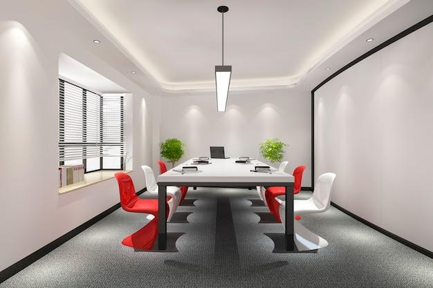 Sala de reuniones de negocios en edificio de oficinas de gran altura con decoración colorida.