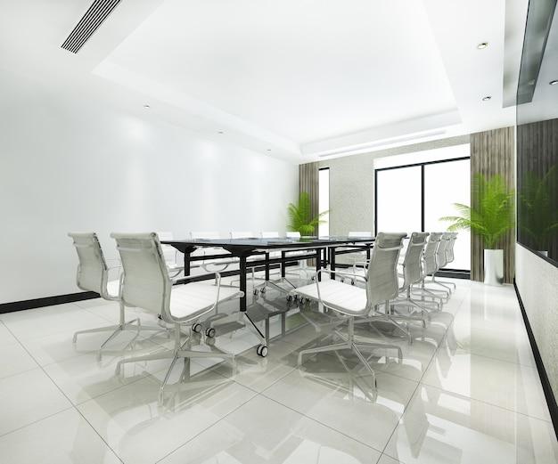 Sala de reuniones de negocios de renderizado 3d en edificio de oficinas de gran altura