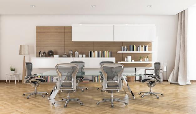 Sala de reuniones de negocios de representación 3d con bonito piso de madera