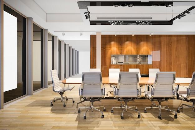 Sala de reuniones de negocios de representación 3d en edificio de oficinas de gran altura