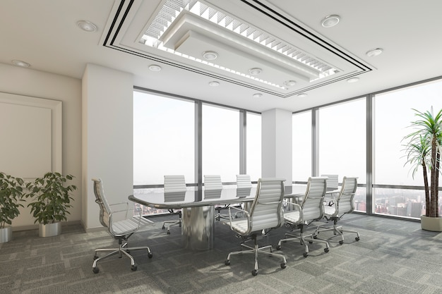 Sala de reuniones de negocios de representación 3d en edificio de oficinas