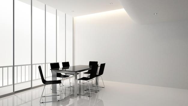 Sala de reuniones o sala de conferencias en edificio de oficinas, renderin 3d