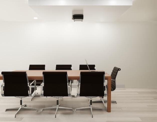 Sala de reuniones con pared blanca, piso de madera copia espacio representación 3d
