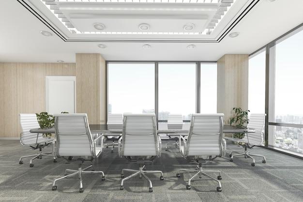 Sala de reuniones de representación 3d en edificio de oficinas