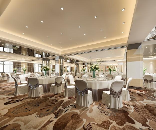 Sala de reuniones de seminario de representación 3d y sala de banquetes
