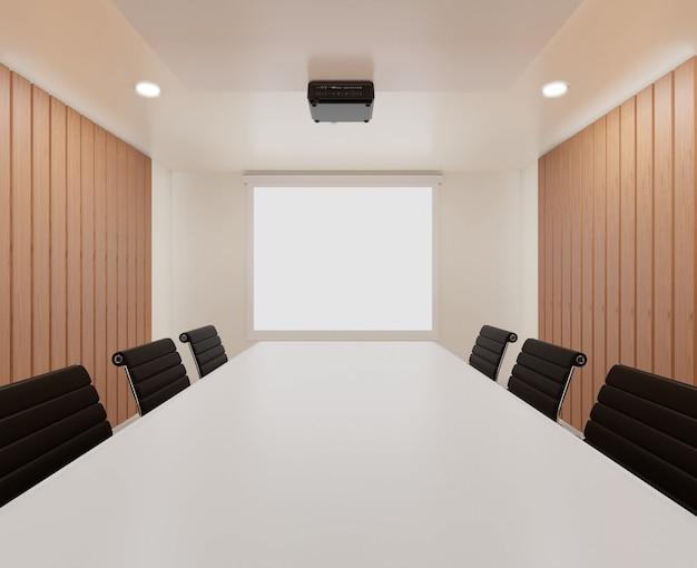 Sala de reuniones con sillas, mesa blanca.