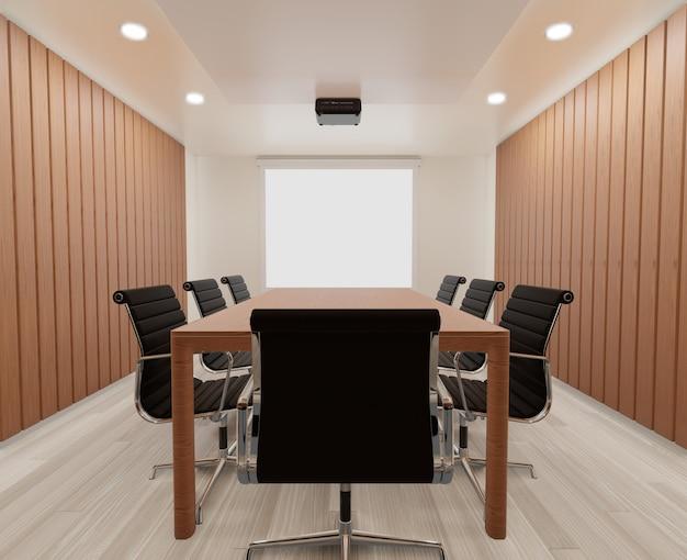Sala de reuniones con sillas, mesa de madera, moqueta.